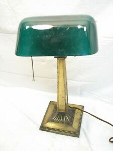 Vintage Emeralite Bankers Student Desk Lamp Light Emerald Green Glass Shade 8734