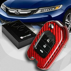 For Honda Accord civic odyssey Real Red Carbon Fiber Remote Key Shell Cover Case