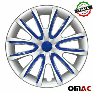 15 Inch Hubcaps Wheel Rim Cover For Nissan Gray With Dark Blue Insert 4pcs Set