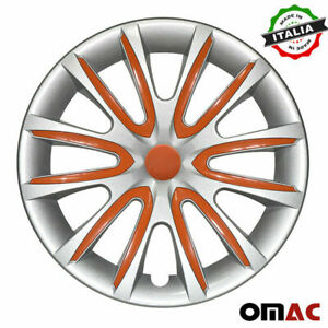 15 Inch Hubcaps Wheel Rim Cover For Mercedes Gray With Orange Insert 4pcs Set