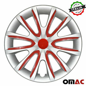 15 Inch Hubcaps Wheel Rim Cover For Nissan Gray With Red Insert 4pcs Set