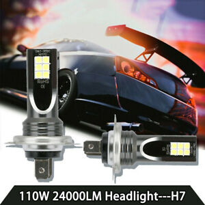 2pcs H7 110w 24000lm Led Car Headlight Conversion Globes Durable Bulb Beam 6000k