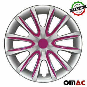 15 Inch Hubcaps Wheel Rim Cover For Nissan Gray With Violet Insert 4pcs Set