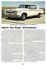 1963 1964 Max Wedge 426 Ramcharger Article Must See Hemi Engine