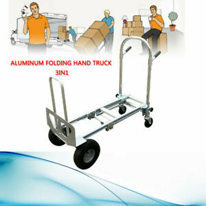 Heavy Duty 3 In 1 Convertible Hand Truck With Flat Free Wheels Easy To Move Hot