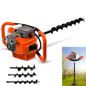 71cc Auger Post Hole Digger Gas Powered Borer Fence Ground Drill 4 6 8 Bits