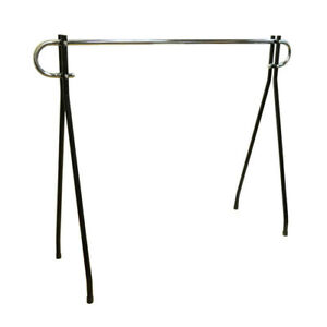 54 h Black Clothing Rack Garment Display Single Chrome Bar Retail Fixture