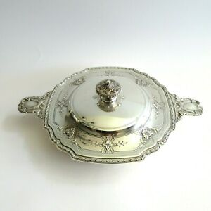 Antique Sterling Silver Tiffany Co 1917 Covered Casserole Serving Dish Bowl
