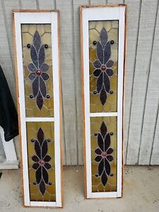 Antique Stained Glass Windows Lot Of 2 Circa 1900 40 S We Ship