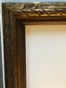 Antique Mid Century Carved Wood Picture Frame 16 X 20