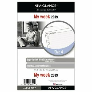At a glance 2019 Weekly Planner Refill Day Runner 5 1 2 X 8 1 2 Desk Size 4