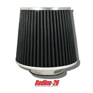 Black Universal Round Cone Cold Air Filter Replacement 2 5 63 5 Mm Inlet