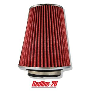 Red Universal Cone Truck Cold Air Filter Replacement 3 5 80 Mm Inlet