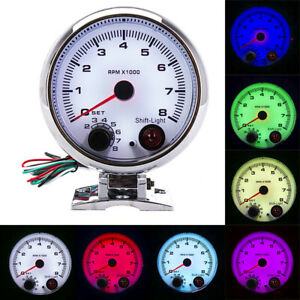 3 75 Car Tachometer Gauge 7 Colors Led Shift Light 0 8000 Rpm Meter White Face