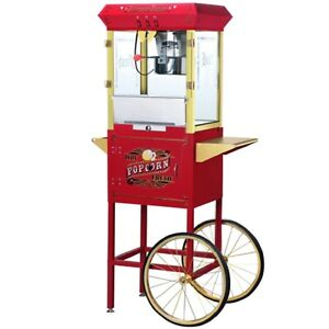 Large Antique Style 8 Ounce Popcorn Popper Machine And Cart Commercial Or Home