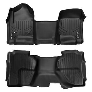 Smartliner Floor Mats Liner Over The Hump For Chevrolet Truck Double Cab Black