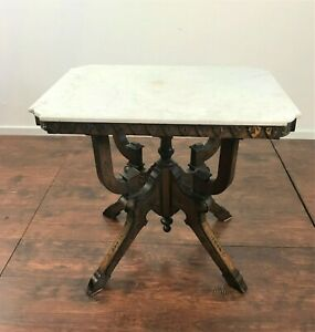 Antique Aesthetic Eastlake Victorian Walnut Lamp Side Parlor Table Marble Top