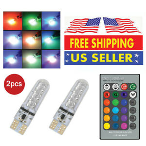 2x T10 6smd Rgb Led Multi Color Car Wedge Bulb W Strobe Light Effect Irremote