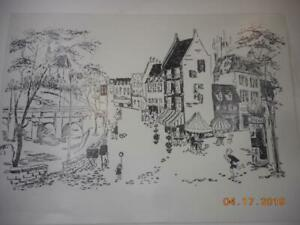 Printing Letterpress Printer Block Vintage French Street Scene Antique Print Cut