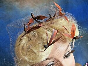VINTAGE millinery 1930's tan rayon HAT VEIL with 6 brown FEATHER BIRDS