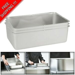 3 Pack Full Size Stainless Steel 6 Deep Steam Table Water Spillage Pan Buffet