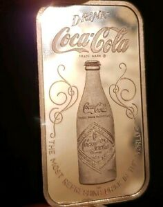 1 oz COKE 1976 COCA-COLA INGOT 999 SILVER ART BAR