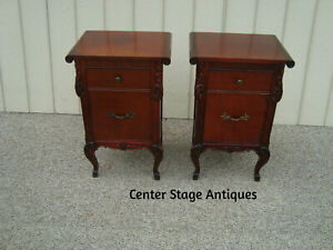 60355 Pair Antique Mahogany Nightstand End Table Stand S