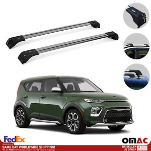 Roof Rack Cross Bars Luggage Carrier Silver Set For Kia Soul X Line 2020 2021