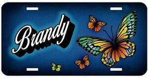 Personalized Monogrammed Custom License Plate Auto Car Tag Butterfly Blue
