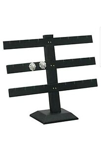 3 Tier 10 h X 10 w Black Velvet Earring Jewelry Display Stand