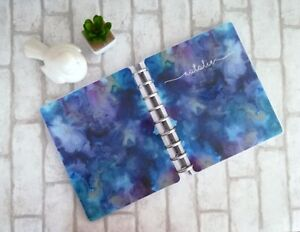 Custom With Name Disc Bound Planner Cover Galaxy Watercolor Marble Purple