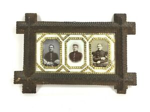Antique Tramp Art Wood Picture Frame With German Military Photos
