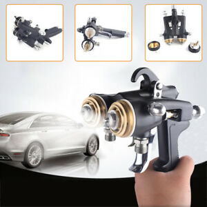 Double Nozzle Chrome Gun Dual Head Spray Gun Hvlp Pneumatic Paint Spray Gun Kit