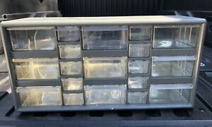 Vintage Storage 19 Drawer Cabinet Plastic Gray Preowned