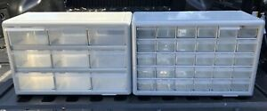 Vintage Lot Of 2 Storage Drawer Cabinets Plastic Gray Preowned