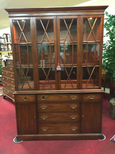 Henkel Harris Cherry Lighted China Cabinet Delivery Available