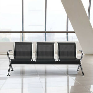 3 seat Airport Office Reception Waiting Room Chair Guest Salon Bench Black