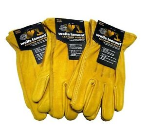 Wells Lamont Premium Cowhide Leather Work Gloves X large 3 Pair New