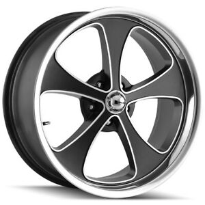 Staggered Ridler 645 Front 18x8 Rear 18x9 5 5x127 5x5 0mm Black Wheels Rims