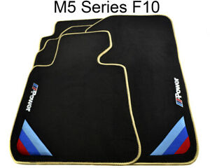 Bmw M5 Series F10 Black Floor Mats Beige Rounds With m Power Emblem