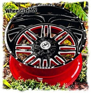 20 X10 Gloss Black Red Milled Xf303 Forged Rims Fits Ford F150 Raptor 6x135 24
