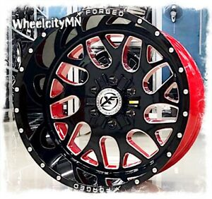 22 X12 Gloss Black Red Milled Xf301 Forged Wheels Fits Ford F150 6x135 44 New