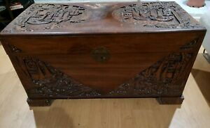 Antique Hand Carved Chinese Chest Very Good Condition 38 By 21 By 20 5