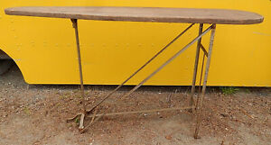 Kahn N Y Antique Wooden Ironing Board Cast Iron Folding Legs Display Table