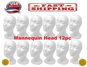 12 Pcs 11 styrofoam Foam Mannequin Head Wig Display us Seller
