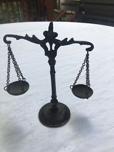 Vintage Scales Of Justice Miniature Metal Brass W Chains Working Lawyer Gift