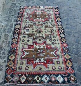 Antique Old 3x6 Ft Caucasian Lesghi Rug Star Shirvan Kuba Hand Knotted 3x5 9