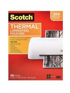 Scotch Thermal Laminating Pouches 8 9 X 11 4 inches 3 Mil 200 pack Clear