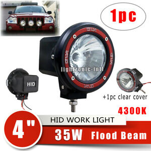 4 35w 4300k Hid Xenon Flood Light Round Offroad Fog Lamp For Jeep 4wd Cover