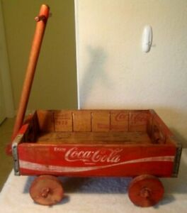 Vintage COCA-COLA RED WOOD CRATE WAGON 1978  Wooden Folk Art Coke Advertising